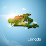 Realistic 3D Map of Canada. With clouds and sunflare Royalty Free Stock Photography