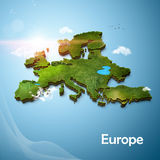Realistic 3D Map of Europe Stock Photography