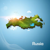 Realistic 3D Map of Russia Stock Photo