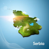 Realistic 3D Map of Serbia Stock Image