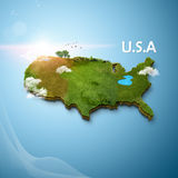 Realistic 3D Map of USA Stock Photo