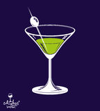 Realistic 3d martini glass with olive berry placed over dark bac Stock Image