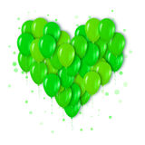 Realistic 3d Neon Green Bunch of  Balloons Flying for Party Stock Photo