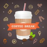 Realistic 3d Paper Cup Coffee Break Concept. Vector. Realistic 3d Paper Takeout Cup Coffee Break Concept on a Brown Background Candy and Sweet Line Icons. Vector Stock Image