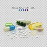 Realistic 3d pills. Pharmacy, antibiotic, vitamins, tablet, capsule. Medicine. Vector illustration of the Tablets and. Realistic 3d pills. Pharmacy, antibiotic royalty free illustration