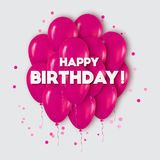 Realistic 3d Pink Balloons Flying for Party and Celebrations. Stock Photo