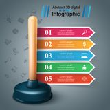Realistic 3d plunger. Business infographic. vector illustration