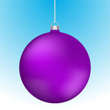 Realistic 3D purple christmas ball decoration hanging. On white chain. Rounded violet ball decoration with reflections on blue to white gradient backdrop Royalty Free Stock Images