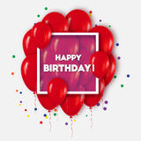 Realistic 3d Red Balloons Flying for Party and Celebrations.T. Rendy Design element with Happy Birthday title and rectangle frame and confetti on white Royalty Free Stock Photography