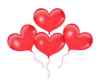 Realistic 3D red balloons in the shape of heart. Isolated on white background. Valentines Day. Vector illustration. Stock Image
