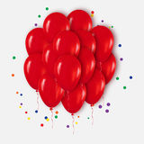 Realistic 3d Red Bunch of  Balloons Flying for Party and Celebrations with confetti. Trendy Design element of Happy Birthday. Vector Illustration Stock Images