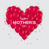 Realistic 3d Red Heart Bunch of  Balloons Flying for Party and Celebrations with confetti. Royalty Free Stock Images