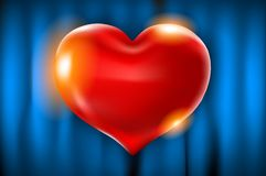 Realistic 3d red heart shape with covering. Vector illustration. Love sign with gold. Decoration element for design. blue curtain. Background art Royalty Free Stock Photo