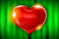 Realistic 3d red heart shape with covering. Vector illustration. Love sign with gold. Decoration element for design. green curtain. Background Stock Image