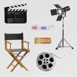 3D Render of Cinema Set. Realistic 3D Render of Cinema Set Royalty Free Stock Photography