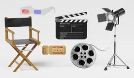 3D Render of Cinema Set. Realistic 3D Render of Cinema Set Stock Photography