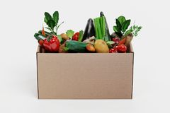 3D Render of Paper Box with Vegetable Stock Photography