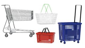 3D Render of Shopping Baskets and Carts Royalty Free Stock Photography