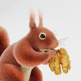 3D Render of Squirrel with Nut stock illustration