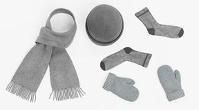 3D Render of Winter Accessories Stock Photography