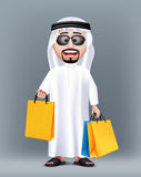Realistic 3D Rich Saudi Arab Man Character Wearing. Traditional Clothes Holding Colorful Shopping Bags with Sunglasses. Editable Vector Illustration Royalty Free Stock Images