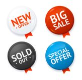 Realistic 3d Sale Discount Color Circle Button Badge Pin Set. Vector Stock Images