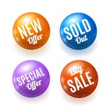 Realistic 3d Sale Discount Shiny Circle Button Badge Pin Set. Vector Royalty Free Stock Photography