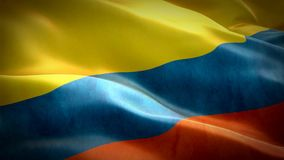 Realistic 3d seamless looping Colombia flag waving in the wind. stock video footage