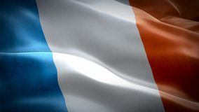 Realistic 3d seamless looping France flag waving in the wind. stock video footage
