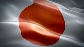 Realistic 3d seamless looping Japan flag waving in the wind. stock footage