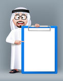 Realistic 3D Smart Saudi Arab Man Character. Wearing Traditional Clothes with Eyeglasses Holding Blank and Empty Clipboard for Text Lists. Editable Vector Stock Photo