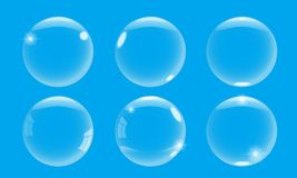 Realistic 3d soap bubble with on blue background. Vector Soap Bubble set illustration. Realistic 3d soap bubble with on blue background. Soap Bubble set. Vector vector illustration