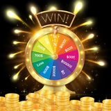Realistic 3d spinning fortune wheel, lucky roulette vector illus. Tration. Win! firework explosion. Gold coins stack vector illustration