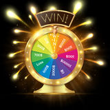 Realistic 3d spinning fortune wheel, lucky roulette vector illustration. Win. firework explosion royalty free illustration