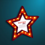 Realistic 3d star with electric bulbs. Retro light sign. Vector illustration Stock Images