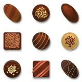 Realistic 3d Chocolate Candies Set. Vector. Realistic 3d Tasty Brown Chocolate Candies Set Various Assortment Snack for Shop Element Present, Romance Product Stock Photography