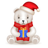 Realistic 3d Teddy Bear cub sit with new year gift Royalty Free Stock Photos
