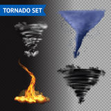 Realistic 3d Tornado Set. Set of 4 cloud water fire and lightning tornados on transparent background 3d  vector illustration Royalty Free Stock Photos