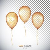 Realistic 3D transparent Gold helium balloons with confetti isol. Ated on white background. Set of shiny balloons for your design Royalty Free Stock Photography