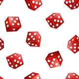 Realistic 3d Red Casino Dice Seamless Pattern Background. Vector stock illustration