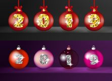 Realistic 3d Vector Christmas Balls with Golden 2019 Numbers stock illustration