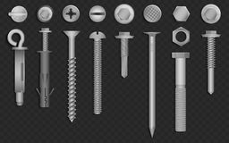 Realistic 3d vector screws, nuts, bolts, rivets and nails for fastening and fixing on black alpha transperant background. Realistic 3d vector screws, nuts, bolts Royalty Free Stock Photography