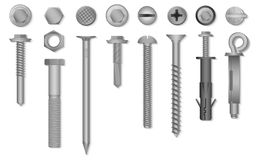 Realistic 3d vector screws, nuts, bolts, rivets and nails for fastening and fixing. Realistic 3d vector screws, nuts, bolts, rivets and nails for fastening and Royalty Free Stock Image