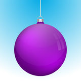 Realistic 3D violet christmas ball decoration hanging. On white chain. Rounded purple ball decoration with several reflections on blue to white gradient Royalty Free Stock Photos