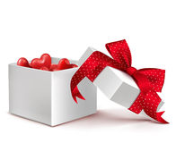 Realistic 3D White Gift Box with Balloon Hearts Inside. Wrap in Red Ribbon for Romantic Valentines Day and Offerings.  Vector Illustration Stock Images