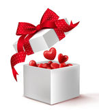 Realistic 3D White Gift Box with Balloon Hearts Inside Stock Image