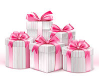 Realistic 3D White Gifts with Colorful Gold Ribbons Stock Images