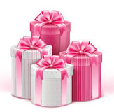 Realistic 3D White Gifts with Colorful Gold Ribbons Stock Image