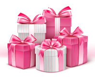 Realistic 3D White Gifts with Colorful Gold Ribbons Royalty Free Stock Photo