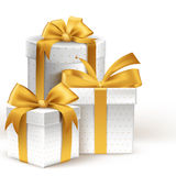 Realistic 3d White Gifts with Colorful Gold Ribbons Royalty Free Stock Image